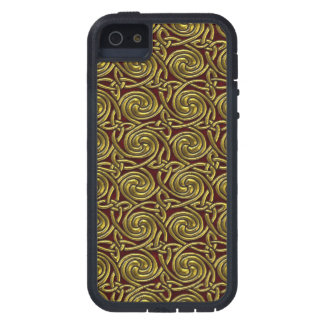 Gold And Red Celtic Spiral Knots Pattern iPhone 5 Cases