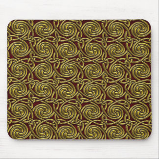 Gold And Red Celtic Spiral Knots Pattern Mouse Pad