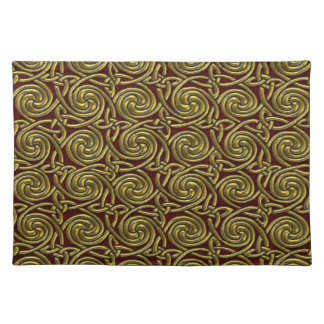 Gold And Red Celtic Spiral Knots Pattern Place Mat
