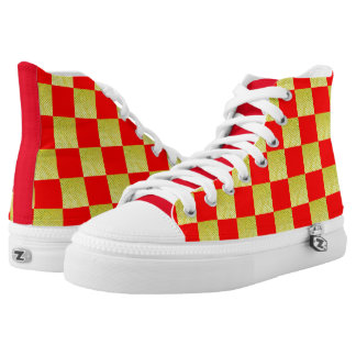 GOLD AND RED CHECKED HIGH TOP SNEAKERS