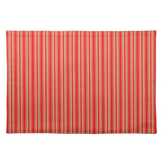 Gold and Red Christmas Stripes Cloth Place Mat