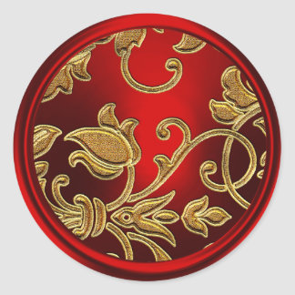 Gold and Red Damask Envelope Seal Round Sticker