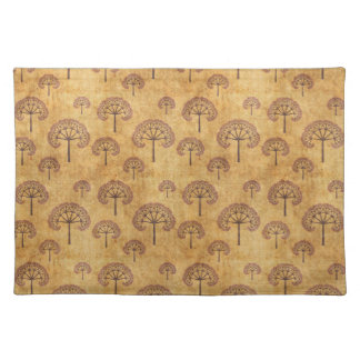 Gold and Red Fractal Tree Pattern Placemats