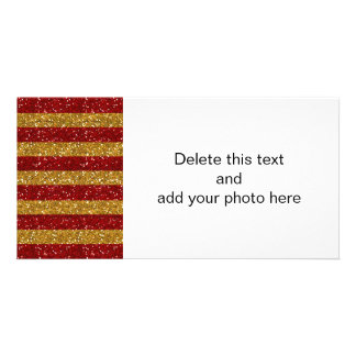 Gold and Red Glitter Stripes Printed Customized Photo Card