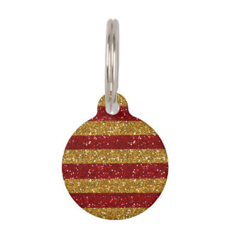 Gold and Red Glitter Stripes Printed Pet Name Tag