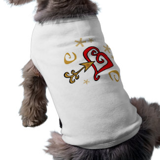 Gold and red Heart Sleeveless Dog Shirt
