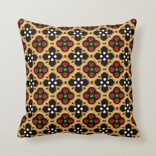 Gold and Red Holiday Bling Cushion