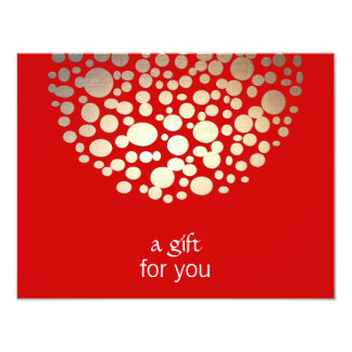 """Gold and Red Holiday Gift Certificate 4.25"""" X 5.5"""" Invitation Card"""