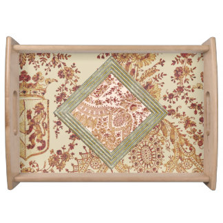 Gold And Red Lace Serving Tray