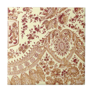 Gold And Red Lace Small Square Tile