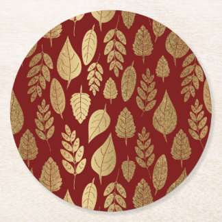 Gold and Red Leaf Pattern Round Paper Coaster