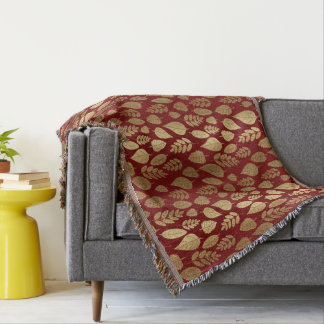 Gold and Red Leaf Pattern Throw Blanket