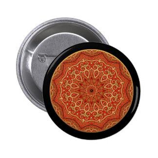 Gold and Red Mandala 6 Cm Round Badge