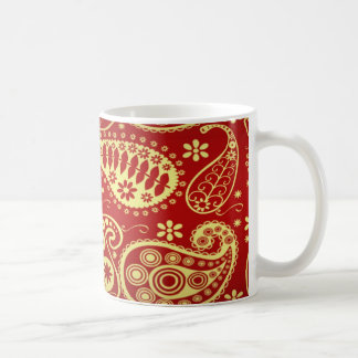 Gold And Red Paisley Pattern Coffee Mug