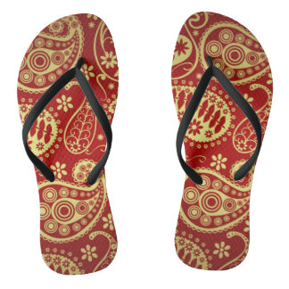 Gold And Red Paisley Pattern Flip Flops