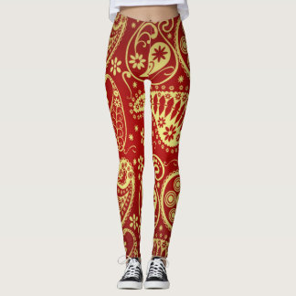 Gold And Red Paisley Pattern Leggings