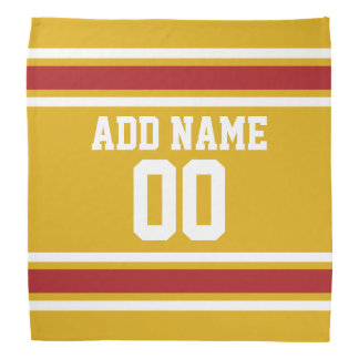 Gold and Red Sports Jersey Custom Name Number Do-rags
