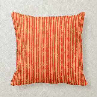 Gold and Red Stripes & Sparkles Throw Pillow
