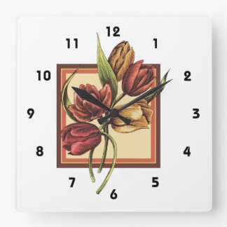 Gold and Red Tulips  Overlapping Orange Frame Square Wall Clock