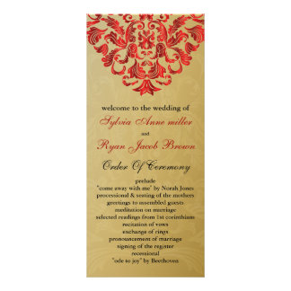 gold and red Wedding program Customized Rack Card