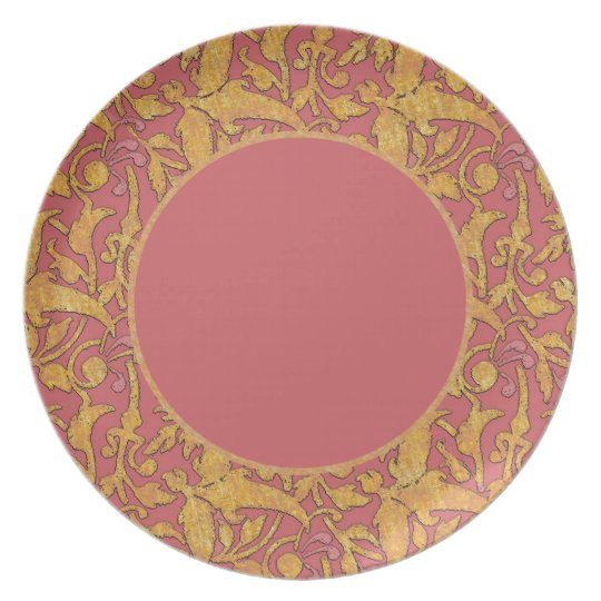 Gold and Rose Damask Pattern Plate