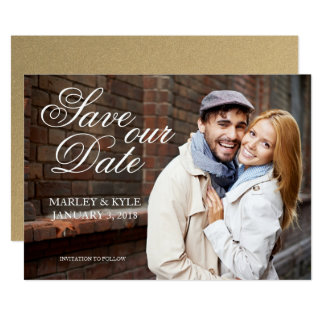 Gold and Script Modern Save the Date Card
