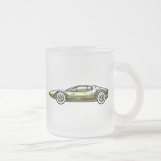 Gold and Siler Sports Car Frosted Glass Mug