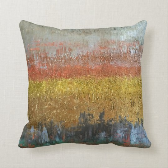 Gold and Silver Abstract Throw Pillow