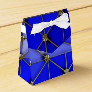 Gold and silver balls on blue favour boxes
