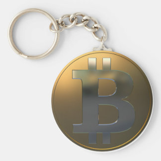 Gold and Silver Bitcoin Basic Round Button Key Ring