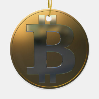 Gold and Silver Bitcoin Christmas Ornament