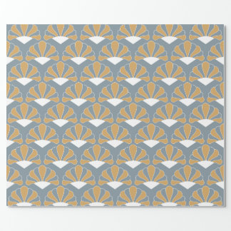 Gold and Silver Blue Art Deco Fan Flowers Pattern Wrapping Paper