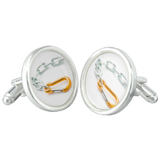 Gold and silver chain clip with links cuff links