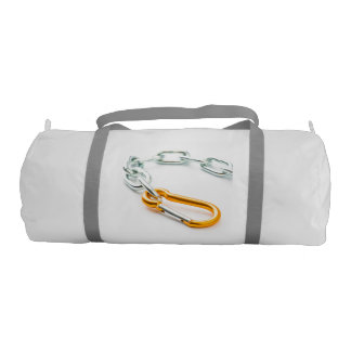 Gold and silver chain clip with links gym duffel bag