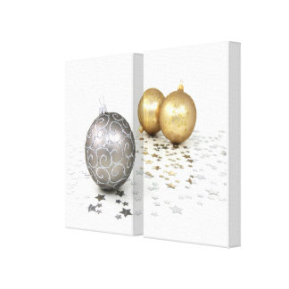 Gold and Silver Christmas Ornaments and Stars Stretched Canvas Prints