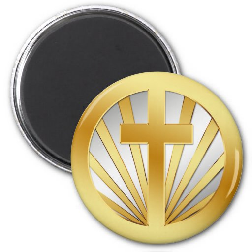 GOLD AND SILVER CROSS 6 CM ROUND MAGNET