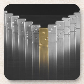 Gold and silver dominoes coaster