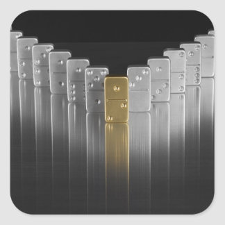 Gold and silver dominoes square sticker