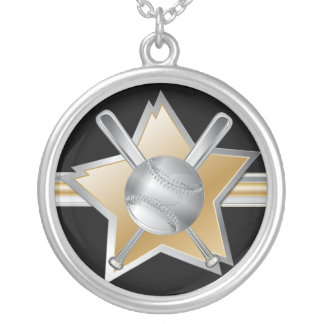 Gold and silver effect baseball star silver plated necklace