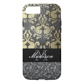 Gold and Silver Elegant Metallic Glitter Monogram iPhone 8/7 Case