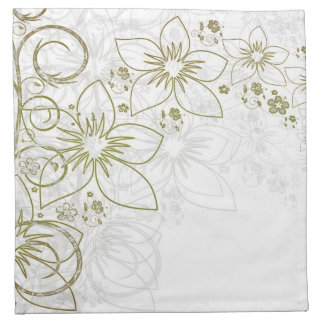 Gold and silver floral napkin