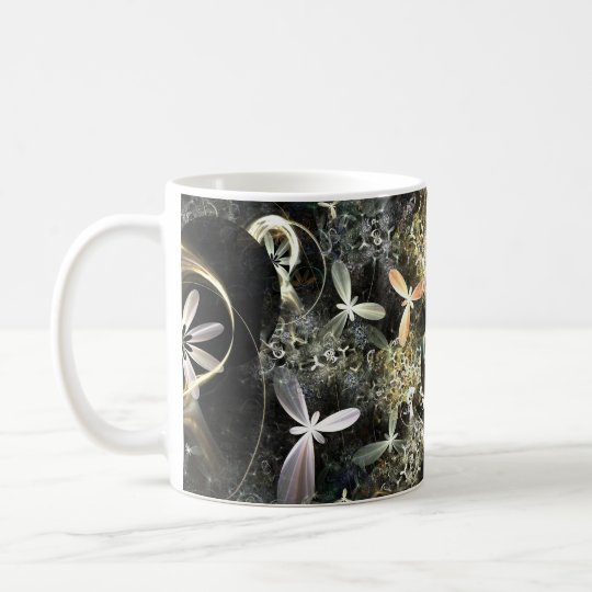 Gold and Silver Flowers Fractal Coffee Mug