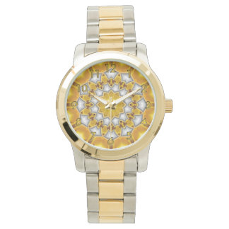 Gold and Silver Fractal Kaleidoscope Watch