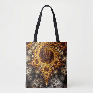 gold and silver fractal tote bag