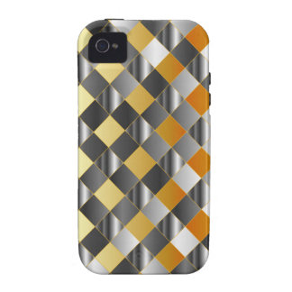 Gold and silver grids vibe iPhone 4 cover
