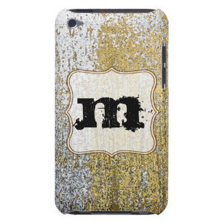 Gold and Silver Grunge Monogram Initial IPOD Touch iPod Case-Mate Case