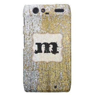 Gold and Silver Grunge Monogram Motorola Razr Cas Droid RAZR Cases