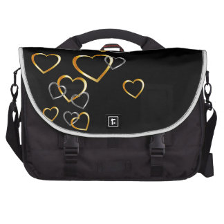 gold and silver hearts background laptop commuter bag