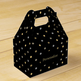 Gold and Silver Polka Dots on Black Party Favour Boxes