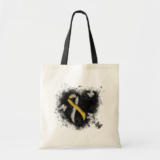 Gold and Silver Ribbon Grunge Heart Tote Bag